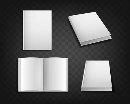Realistic Detailed 3d White Blank Book Cover Template Mockup Set. Vector