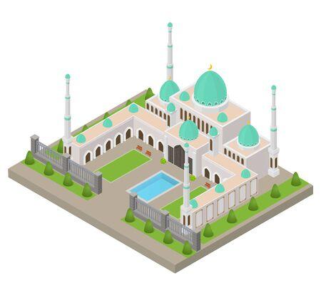 Mosque Building Concept 3d Isometric View. Vector Illusztráció