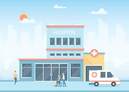Cartoon-Krankenhaus-Gebäude auf einer Landschaftshintergrundszene. Vektor Vektorgrafik