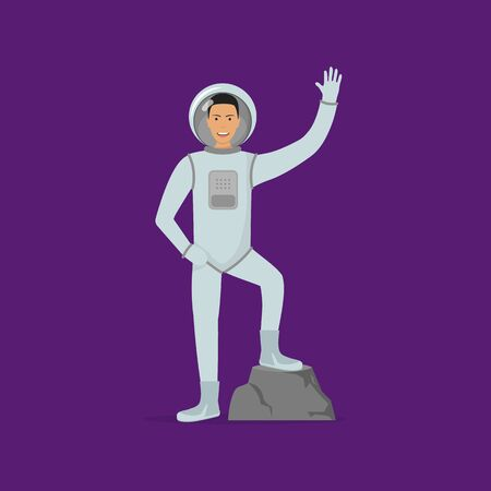 Cartoon Character Astronaut Person on Stone Space Concept Element Flat Design Style. Vector illustration of Cosmonaut