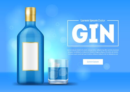 Realistic 3d Detailed Blue Gin Ad Concept Card Background. Vector  イラスト・ベクター素材
