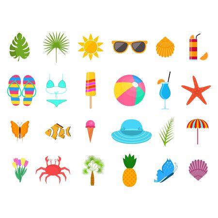 Summer Time Color Sign Icon Set. Vector Illustration