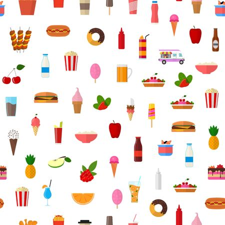 Cartoon Color Wagon Track Summer Food Seamless Pattern Background. Vector