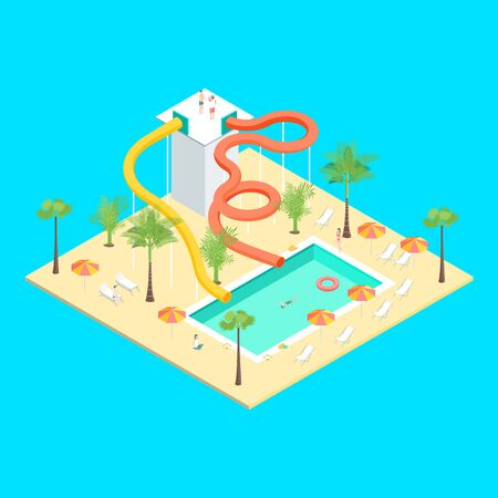 Territory of Water Park Concept 3d Isometric View. Vector  イラスト・ベクター素材