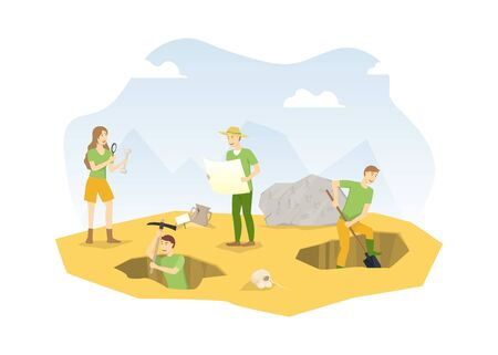 Cartoon Color Characters People and Archeology Excavations Concept. Vector Иллюстрация