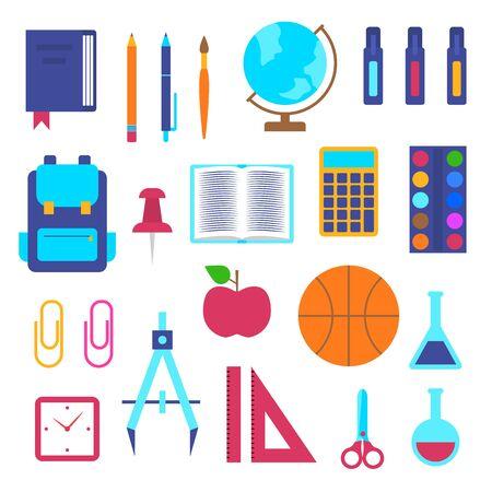 Cartoon Color School Supplies Icon Set. Vector