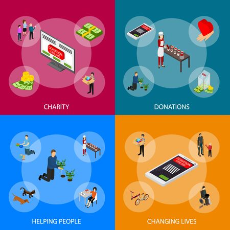 Charity Donation Funding Banner Set 3d Isometric View Include of Hand, Volunteer, Heart, Gift and Food. Vector illustration of Icons