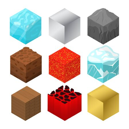 Mine Cubes Signs 3d Icon Set Isometric View. Vector