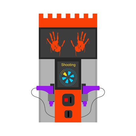 Cartoon Color Game Machine and Guns on a White Entertainment Gambling Element Concept Set Flat Design Style. Vector illustration Standard-Bild - 128780643