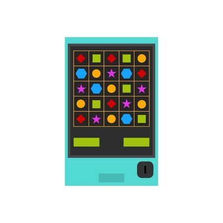 Macchina del gioco di colore del fumetto e forme su un concetto di elemento di gioco d'azzardo di intrattenimento bianco Imposta stile Design piatto. Illustrazione vettoriale