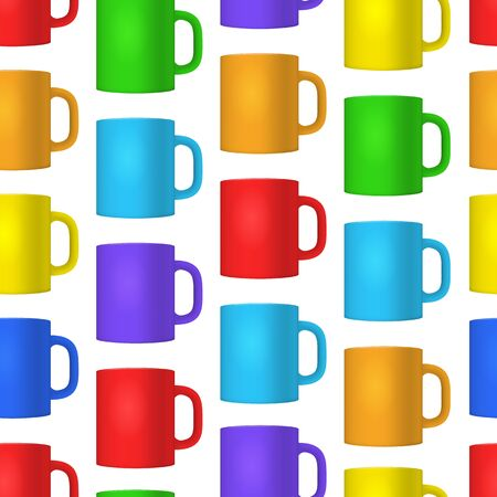 Realistic Detailed 3d Blank Cup Seamless Pattern Background on a White Empty Template Mockup Set Different Views. Vector illustration of Mock Up Mug Illusztráció