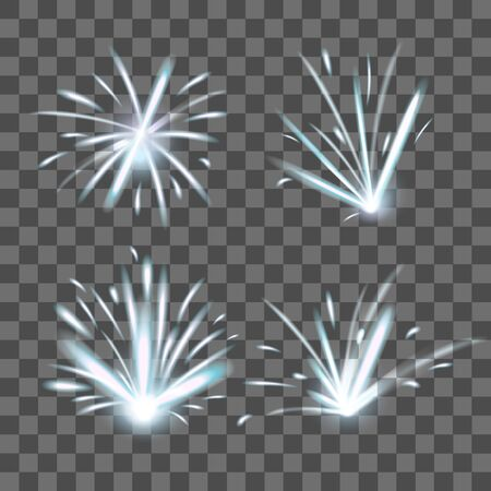 Realistic Detailed 3d Fire Sparks on a Transparent Background. Vector