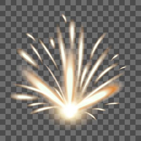 Realistic Detailed 3d Fire Spark on a Transparent Background. Vector Иллюстрация