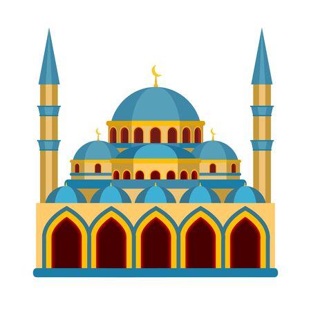 Cartoon Color Islamic Mosque Religious Building. Vector Illusztráció