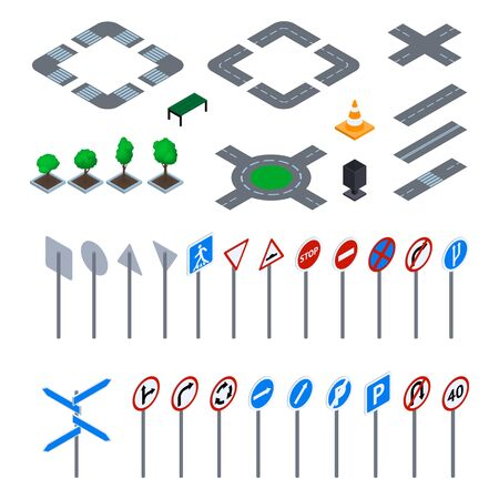 Road Sign 3d Icon Set Isometric View. Vector