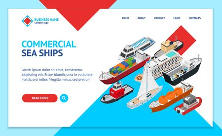 Commercial Sea Ships Signs 3d Landing Web Page Template Isometric View. Vector