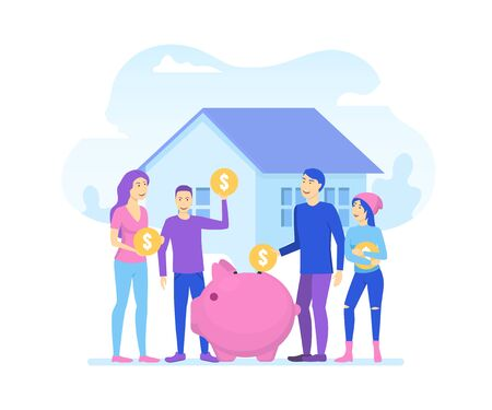 Cartoon Color Characters People and Family Saves Money Concept. Vector