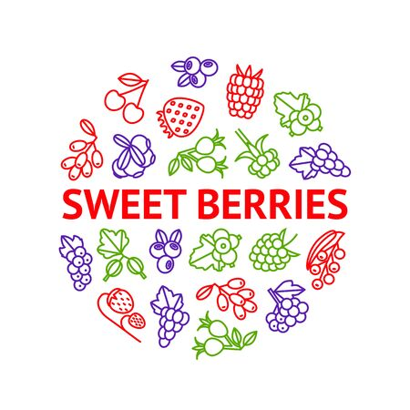Berries Signs Thin Line Round Design Template Ad. Vector 일러스트