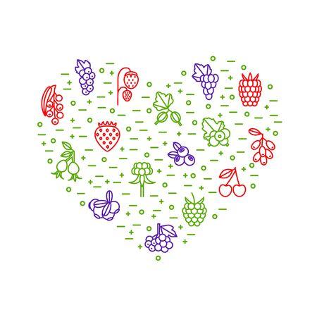 Berries Signs Thin Line Heart Shape Design Template. Vector 일러스트
