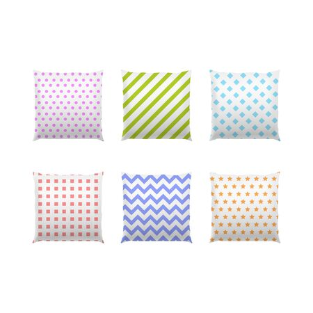 Realistic Detailed 3d Color Blank Pillows Template Mockup Set. Vector