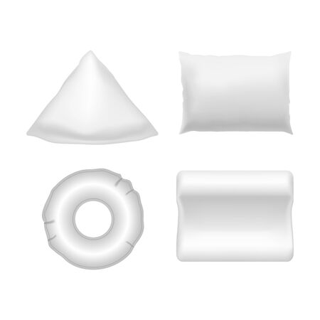 Realistic Detailed 3d White Blank Pillows Template Mockup Set. Vector