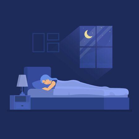 Cartoon Color Character Woman Sleeping in Bedroom Concept. Vector