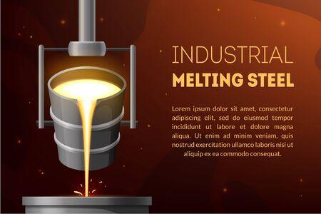 Fond de carte de concept publicitaire en acier de fusion industrielle. Vecteur
