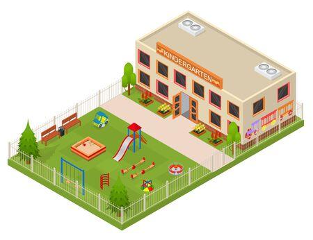 Kinder Garden Building Concept 3d Isometric View. Vector