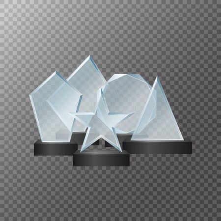 Realistic Detailed 3d Glass Cup Trophies Set. Vector Çizim