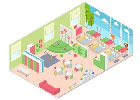 Kindergarten Room Interior with Furniture Isometric View. Vector