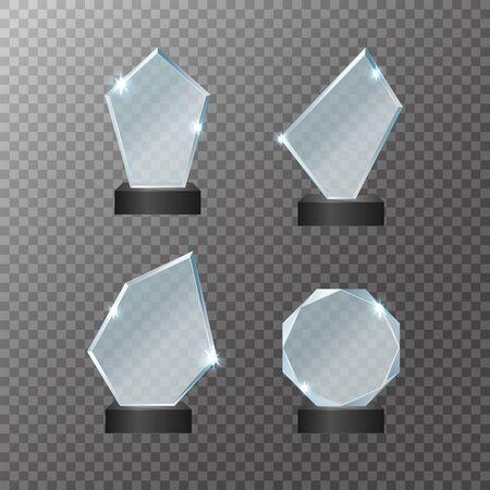 Realistic Detailed 3d Glass Cup Trophies Set. Vector Иллюстрация