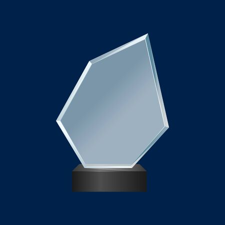 Realistic Detailed 3d Glass Cup Trophy. Vector Çizim