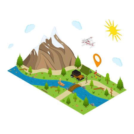 Hiking in a Park Concept 3d Isometric View. Vector Banque d'images - 129791807