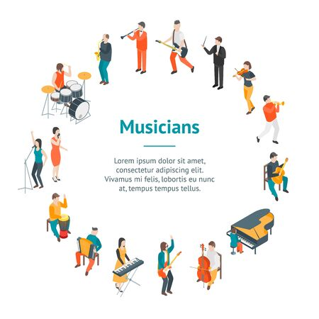 Characters Different Musicians People Banner Card Circle 3d Isometric View Include of Guitarist, Singer, Drummer and Saxophonist. Vector illustration Ilustração