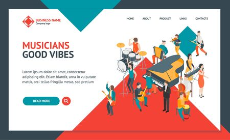 Characters Different Musicians People Landing Web Page Template 3d Isometric View. Vector