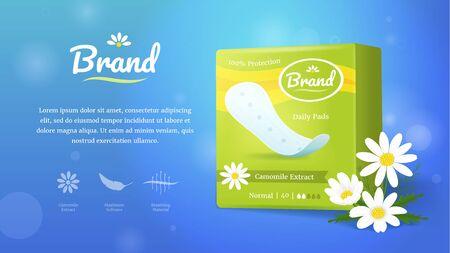 Hygienische weibliche Produkt Ad Concept Card Hintergrund. Vektor