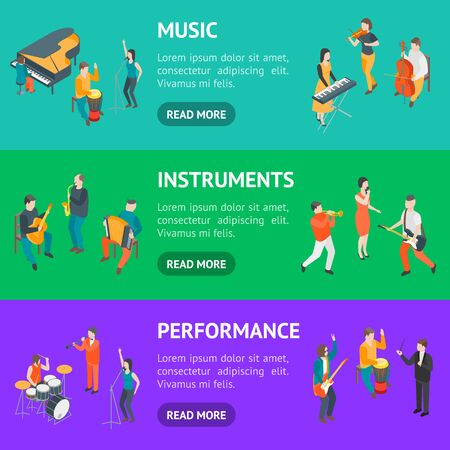 Characters Different Musicians People Banner Horizontal Set 3d Isometric View Include of Guitarist, Singer, Drummer and Saxophonist. Vector illustration