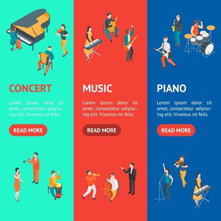 Characters Different Musicians People Set 3d Isometric View. Vector Illustration