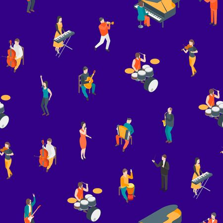 Characters Different Musicians People Seamless Pattern Background 3d Isometric View. Vector