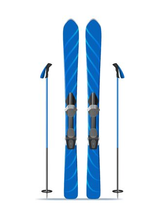 Realistic 3d Detailed Blue Ski with Stiks. Vector