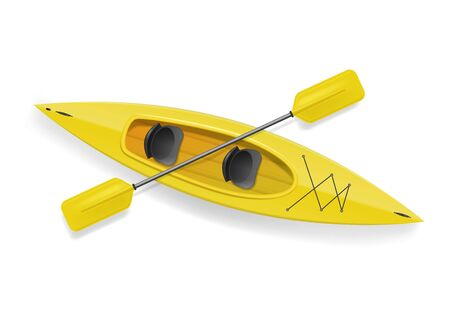 Realistic 3d Detailed Yellow Kayak with Paddle. Vector Stockfoto - 129791781