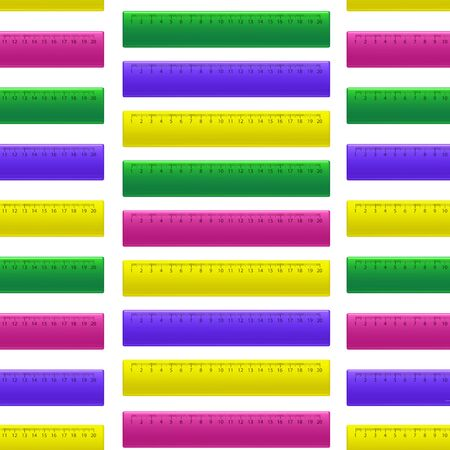 Realistic Detailed 3d Color School Measuring Rulers Seamless Pattern Background. Vector Illustration