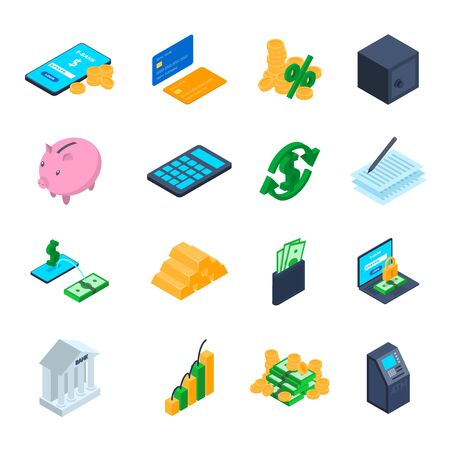 Finance Sign 3d Icon Set Isometric View. Vector