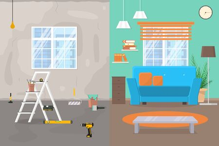 Cartoon Color Room Before and After Repair Concept. Vector Ilustrace