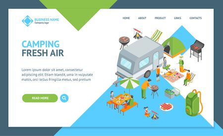 Picnic Barbecue Landing Web Page Template Isometric View. Vector