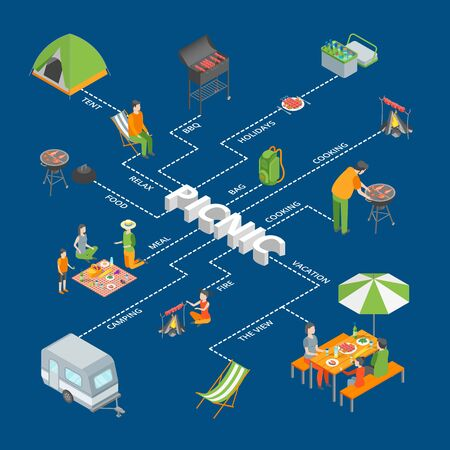 Picnic Barbecue Concept Infographics Isometric View. Vector