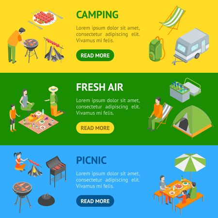 Picnic Barbecue Banner Horizontal Set Isometric View. Vector