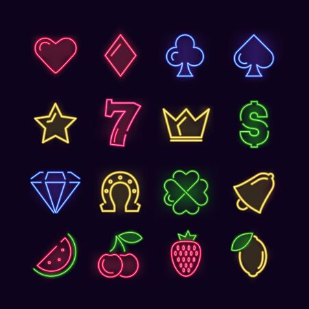 Game Casino Sign Color Thin Line Icon Set. Vector