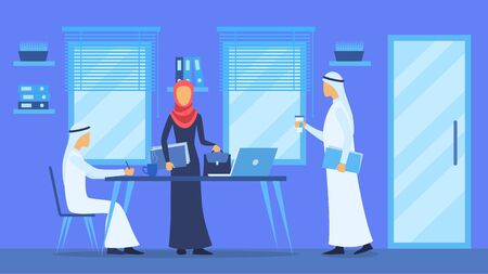 Cartoon Color Characters People and Arabic Business Concept. Vector