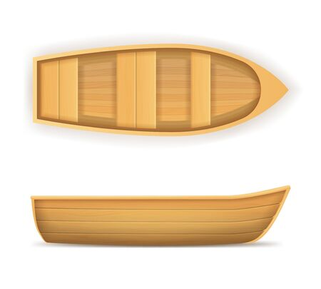 Realistic 3d Detailed Wooden Boat Set. Vector